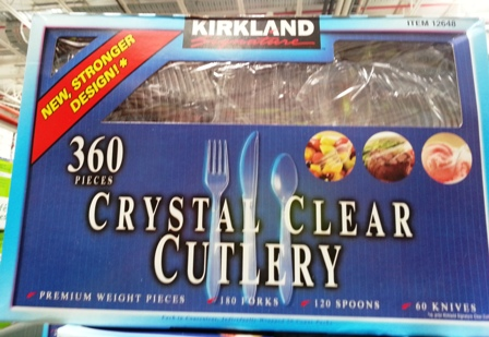 Kirkland Crystal Clear Cutlery Knives Forks Spoons 360x pack Plastic Disposable