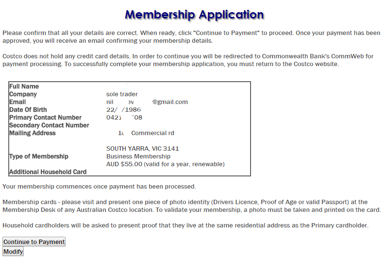 Costco Membership online signup 3